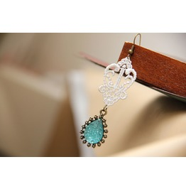 Handmade White Lace Blue Jewelry Gothic Earring Eh 15