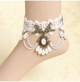 Handmade White Lace Tassels Pear Gothic Ankle Bracelet Fl 53