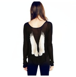 Vintage Angel Dream Wings Loose Long Sleeved T Shirt Black/White