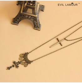 Handmade Crossing Long Gothic Necklace Nk 10