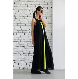 Long Black Mesh Dress/ Maxi Dress/ Loose Woman Dress/ Neon Line Dress