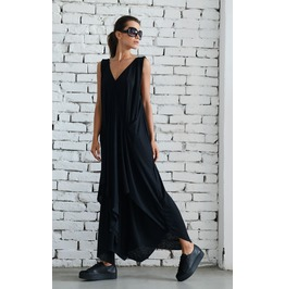 Long Black Dress/Draped Maxi Dress/Loose Black Dress/Evening Black Dress
