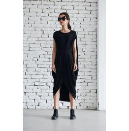 Asymmetric Loose Black Dress/Oversize Tunic Top/Casual Plus Size Dress