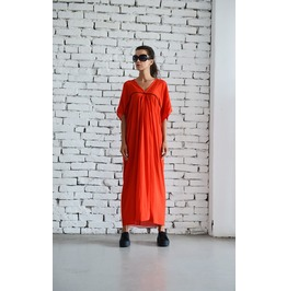 Red Maxi Dress/Long Loose Dress/Plus Size Kaftan/Casual Red Tunic Dress