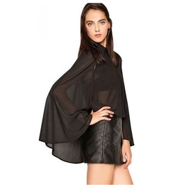 Batwing Sleeves See Thru Black Chiffon Top