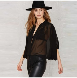 Sexy Batwing Sleeves See Thru Black Chiffon Top