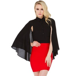 Batwing Sleeves Black Chiffon Top