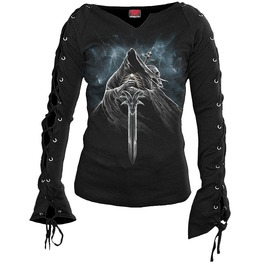 Black New Women Grim Rider Laceup Sleeve Top