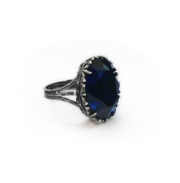 Silver Gothic Ring With Dark Blue Swarovski Crystal And Filigree Details