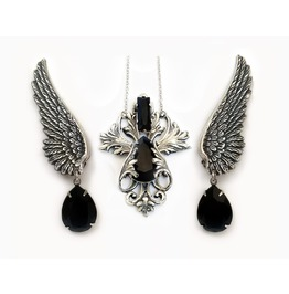 Black Gothic Jewelry Set Swarovski Necklace And Silver Wings Earrings