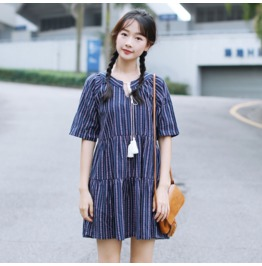 Summer New Striped Bandage Dress Embroidered Thin Loose Dress