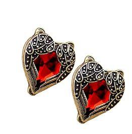 Valentine Scarlet Red Heart Design Angel Wing Earrings