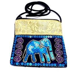 Cool Small Black Elephant Boho Design Purse Bag With. Handcrafted Embroider