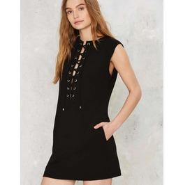 Sleeveless Lace Up Short Black Dress