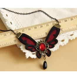 Handmade Red Butterfly Jewelry Long Gothic Necklace Nk 11