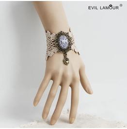 Handmade White Lace Heart Gothic Bracelet Ws 290