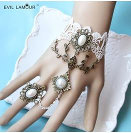 Handmade White Lace Long Tassels Rhinestone Gothic Bracelet Ring Ws 279
