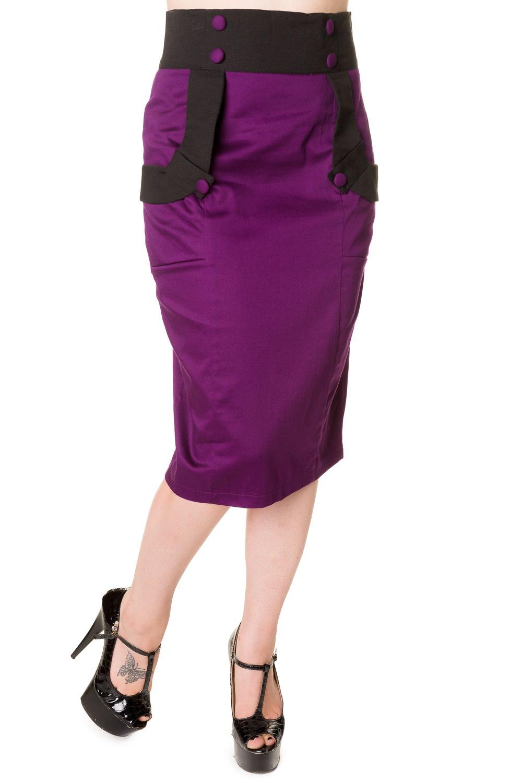 banned apparel black purple retro pencil skirt 117927