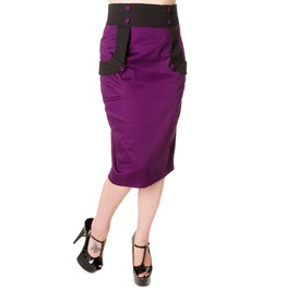Banned Apparel Black Purple Retro Pencil Skirt