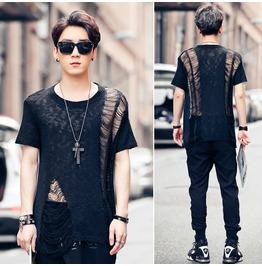 Harajuku Summer Hip Hop Fashion Mens T Shirt Knitwear Ripped T Shirt