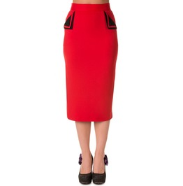 Banned Apparel Pencil Skirt Black And Red