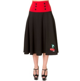 Banned Apparel Black Red Cherry Long Skirt