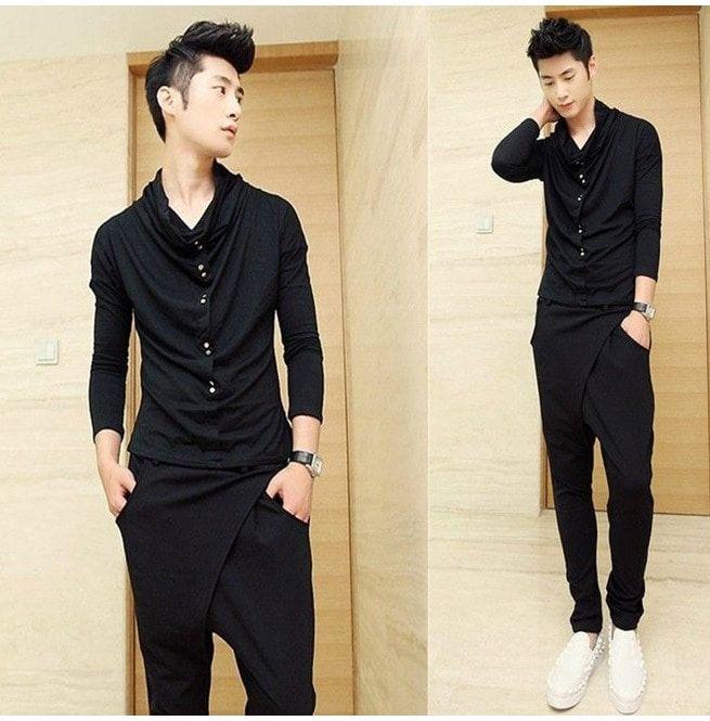 New Fashion Designer Black Long Sleeve Men Shirts Rebelsmarket