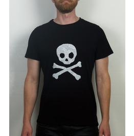 Romantic Punk Lace Skull And Crossbones Applique T Shirt