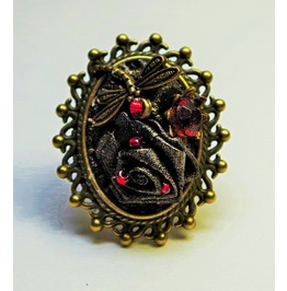 Black Antiqued Leather Gothic Style Ring. Steampunk Victorian Jewelry.