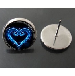 Vintage Steampunk Blue Heart Emblem Stud Earrings