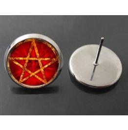 Vintage Steampunk Red Pentagram Stud Earrings