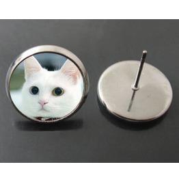 Vintage Steampunk Cute White Cat Stud Earrings