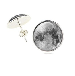 Vintage Steampunk Gray Moon Stud Earrings