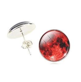 Vintage Steampunk Red Moon Stud Earrings
