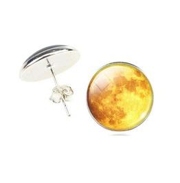 Vintage Steampunk Yellow Moon Stud Earrings