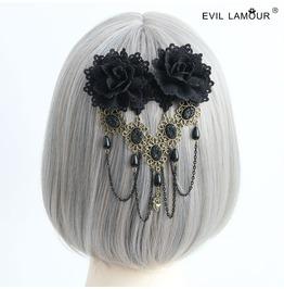Black Lace Flower Long Tassels Jewelry Gothic Hair Accessories Fj 154