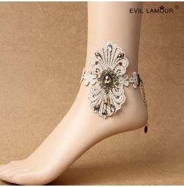 Handmade White Lace Flower Gothic Ankle Bracelet Fl 80