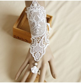 Handmade White Lace Flower Long Gothic Glove Ws 40