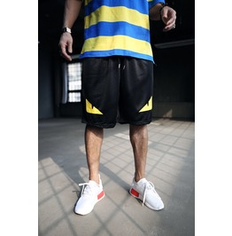 Mens Yellow Mesh Short Pants