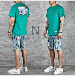 Surfer Picture Patchwork Basic Cotton Round T Shirts 550
