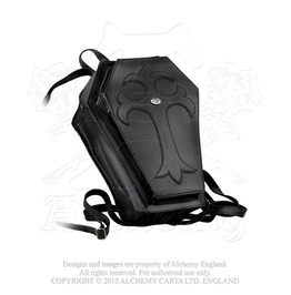 Embossed Coffin Shaped Iron Cross Leather Back Pack By Alchemy Gothic