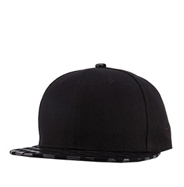 Black Plaid Faux Leather Sliding Plate Baseball Cap