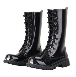 Men's Lace Up Patent Leather Riding Boots Martin Boots