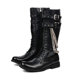 Men's Metal Chain Buckle Up Zipper Faux Leather Motorcycle Boots