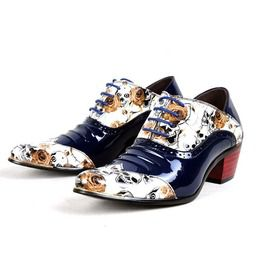 Men's Vintage Skull Contrast Lace Up Patent Leather Pointed Shoes