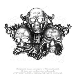 No Evil Skulls Of Wisdom Belt Buckle By Alchemy Gothic