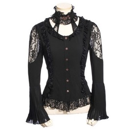 Gothic Women's Lace Tops Black