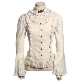 Gothic Women's Lace Tops White
