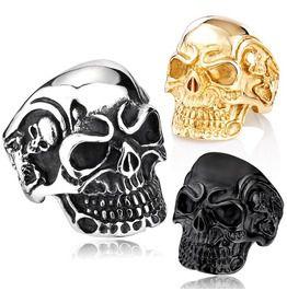 Men's Punk Big Skull Rings Sliver/Golden/Black