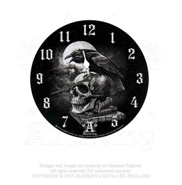 Edgar Allen Poe's Nevermore Raven Skull Black White Wall Clock By Alchemy